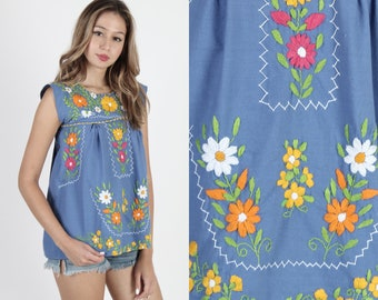 ad19abd1c6 Blue Mexican Tunic With Pockets Cotton Mexican Top Boho Ethnic Tunic  Vintage Floral Embroidered Fiesta Festival Womens Sleeveless Sun Top