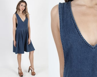 cea2da3141 Denim Dress Blue Jean Dress Plain Dress Vintage 80s Deep V Neck Suspender  Dress Boho Sleeveless Country Jumper Midi Mini Dress