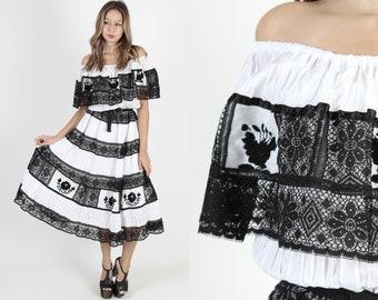 7e43a2cf370e51 White Mexican Dress Fiesta Dress Black Lace Trim Dress Off The Shoulder  Dress Ethnic Bridesmaids Dress Vintage 80s Floral Party Maxi Dress