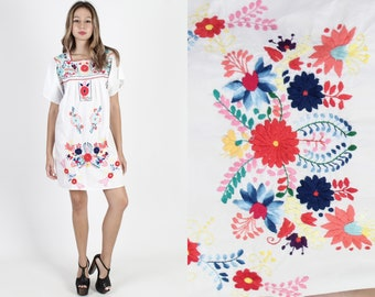 29836bbf10c White Mexican Dress Womens Mexican Wedding Dress Flutter Sleeve Dress  Fiesta Dress Vintage 70s Floral Hand Embroidered Boho Sun Mini Dress