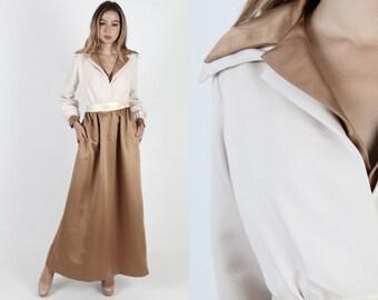 4a2dab2fed Oscar de la Renta Boutique Dress / Vintage 70s Gown With Pockets / 1970s  Designer Dress / Ivory Lounge Disco Cocktail Party Long Maxi Dress