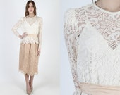 Vintage 80s Scallop Floral Lace Wedding Dress Sheer See Through Dress Victorian Style Deco 1980s Ivory Nude Lace Party Midi Mini Dress