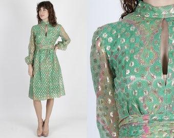 Chiffon Dress Gold Dress Green Dress Party Dress Vintage 70s Paisley Dress Disco Bright Color Cocktail Sheer Metallic Short Mini Dress S M
