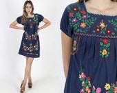 Navy Blue Cotton Mexican Dress 70s Hand Embroidered Dress Boho Festival Dress Vintage Floral Fiesta Party Puff Sleeve Shift Mini Dress