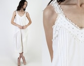 White Edwardian Style India Dress Thin Lace Delicate Victorian Inspired Dress Vintage Floral Eyelet Nightgown Midi Tank