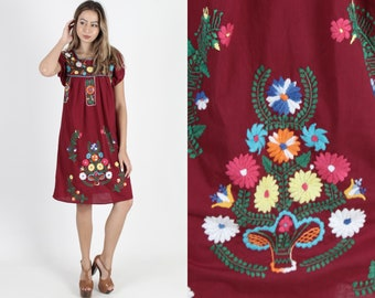 17b7963b9e Maroon Mexican Dress Puff Sleeve Fiesta Dress Ethnic Hand Embroidered  Vintage Burgundy Bright Floral Boho Womens Summer Cotton Mini Dress