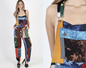5bc49a04ade Vintage 90s Patchwork Jumpsuit With Pockets Ethnic Grunge Overalls Colorful  Coveralls Sexy Boho Batik Maxi Pant Suit Playsuit Jumpsuit