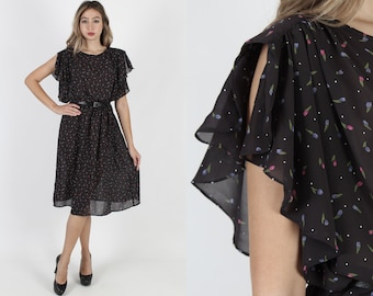 949518b89e Vintage 80s Sheer Black Dress Thin Calico Floral Dress Flutter Sleeve Dress  See Through Secretary Party Evening LBD Midi Mini Dress