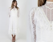 White Victorian Gunne Sax Dress Romantic Bridal Bohemian Wedding Gown Vintage 70s McClintock Renaissance Lace Floral Midi Maxi Dress