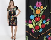 Black Mexican Dress Mexican Wedding Dress Ethnic Dress Vintage 80s Bright Floral Cover Up Embroidered Boho Cotton Womens Fiesta Mini Dress