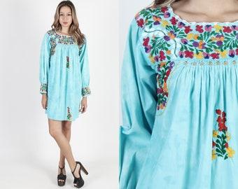 0bb664d88f51 Long Sleeve Oaxacan Dress Tie Dye Mexican Dress Boho Wedding Dress Vintage  Floral Embroidered Teal Cotton Boho Summer Womens Mini Dress