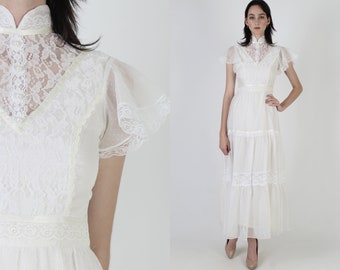 Vintage 70s Swiss Dot Wedding Dress / Sheer White Floral Lace Maxi Dress / High Collar Solid Bridal Dress / Victorian Inspired Long Dress
