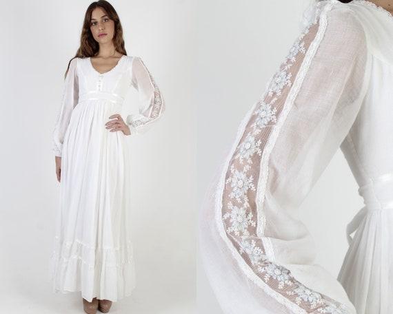 70s White Gunne Sax Bridal Dress / 1970s Jessica M