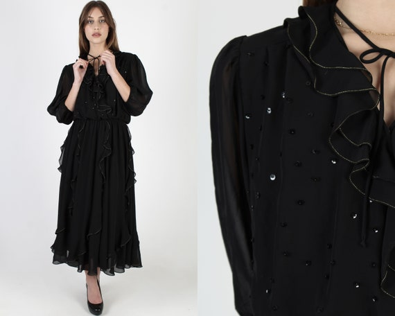 80s Mosaic Brand Ruffle Dress / All Black Dancing
