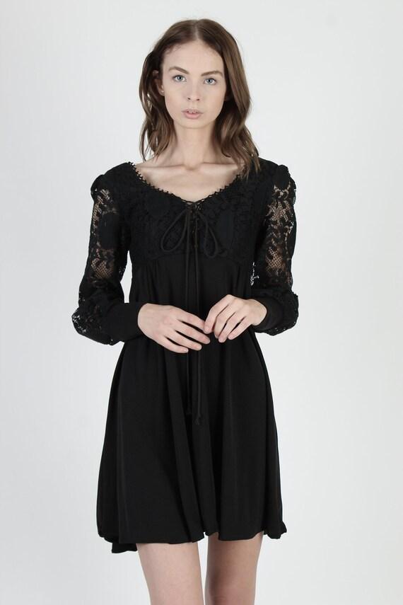 Vintage 70s Black Corset Dress / All Over Plain F… - image 3