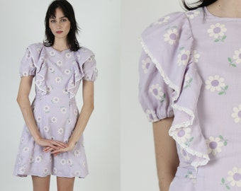Vintage 70s Velvet Daisy Floral Dress Lilac Country Prairie Field Bow Tie Waist Mini Dress