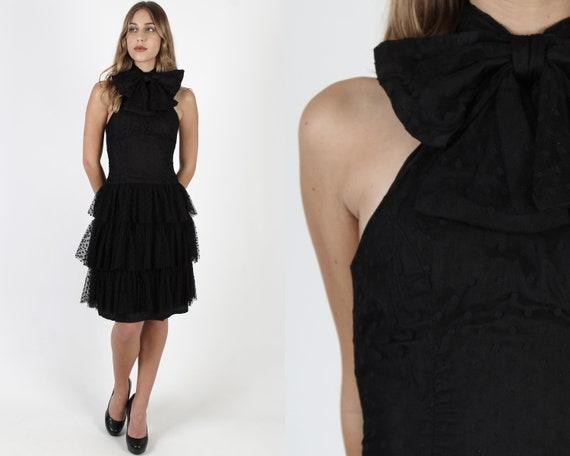 Black Polka Dot Dress / Sexy Evening Date Night Dr