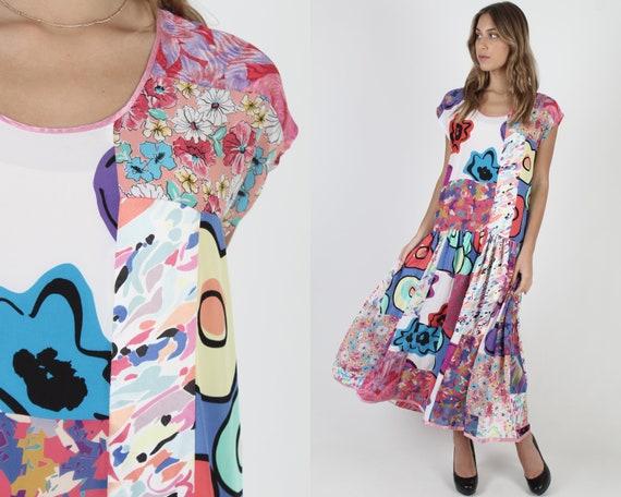 Bright Color Patchwork Grunge Dress / Vintage 80s