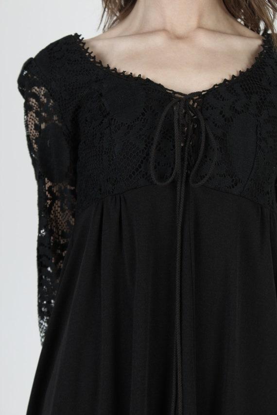 Vintage 70s Black Corset Dress / All Over Plain F… - image 6