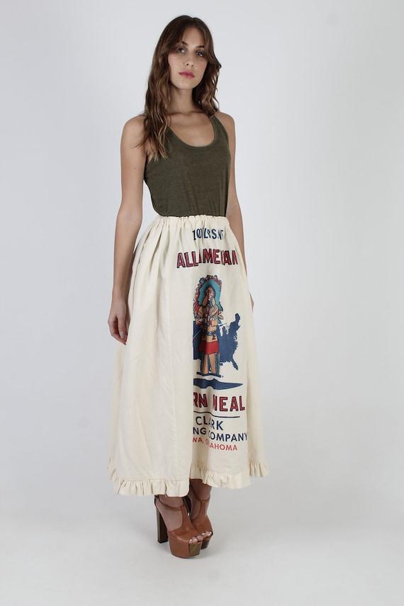 Flour Sack Skirt / Native American Indian Print /… - image 4