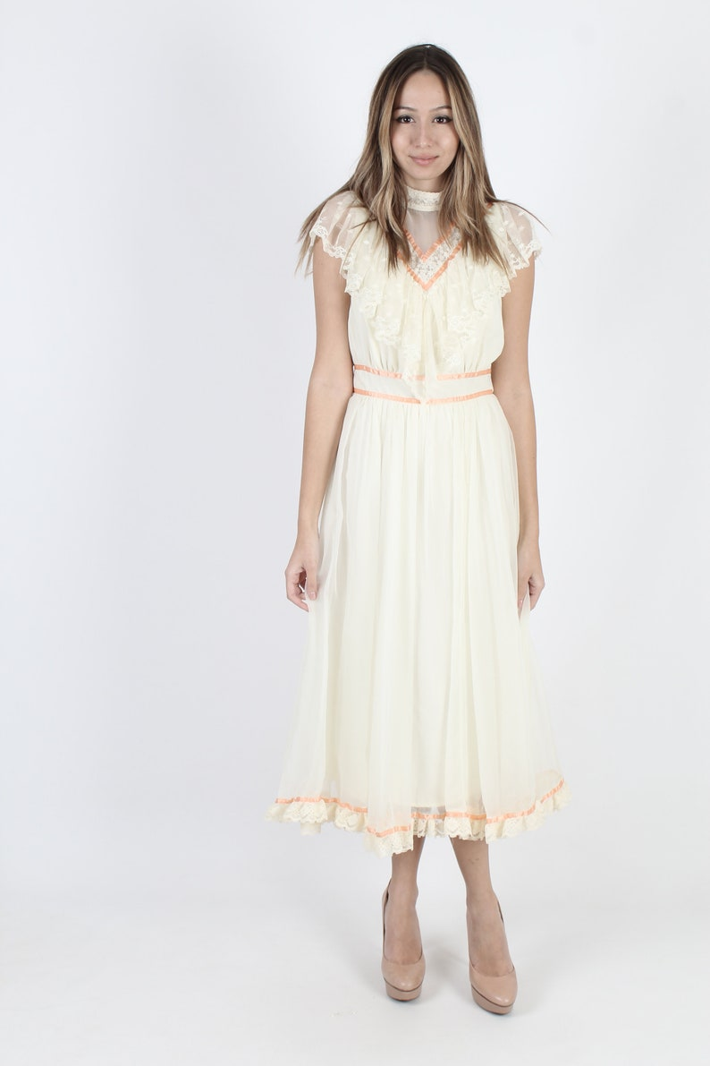 Boho Wedding Dress Lace Dress Bridesmaids Dress Victorian Dress Vintage 70s Cream Bridal Sheer Floral Embroidered Womens Midi Maxi Dress
