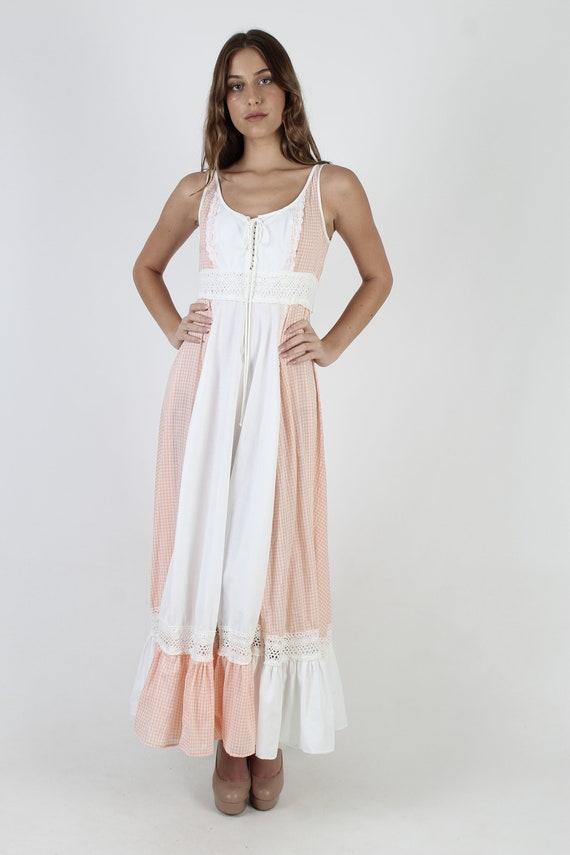 Vintage 70s Peach Gingham Dress / Gunne Sax White… - image 2