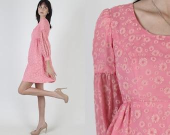 Vintage 60 Pink Chiffon Dress / 1960s Velvet Daisy Floral Dress / Full Skirt Easter Spring Cocktail Party Mini Dress