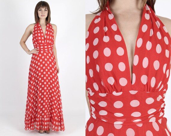 Maxi-Kleid Chiffon-Kleid 80er Jahre Kleid rot Kleid langes | Etsy