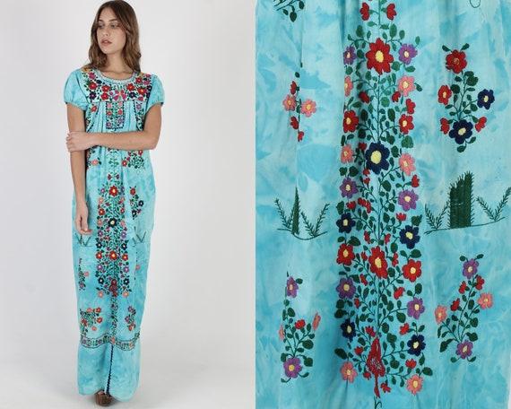 Long Tie Dye Mexican Dress / Vintage Teal Heavily