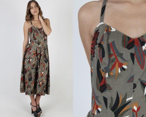 Floral Safari Style Dress / Criss Cross Spaghetti
