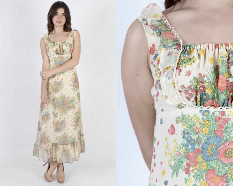 41ce6a231 Maxi Dress 70s Dress Bright Floral Dress Garden Dress Bohemian | Etsy