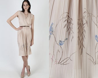 Vintage Floral Wrap Dress / Tan Deep V Neck Flower Dress / 70s Blue Bird Print Pleated Skirt / Light Sleeveless Day Party Mini Dress