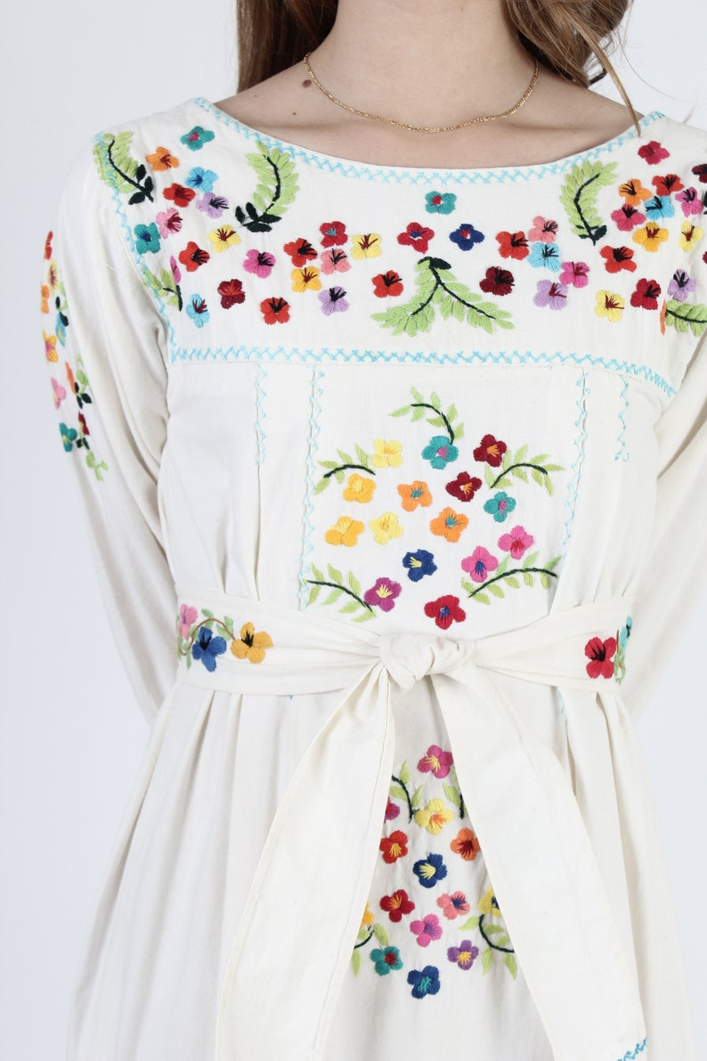 Embroidered Mexican Maxi Dress With Matching Belt  Bright Floral Hand Embroidery  Vintage 70s Ivory Cotton Belted Caftan Long Dress