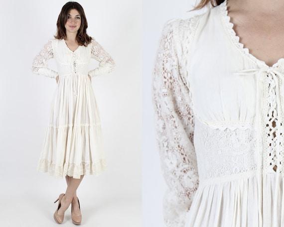 Gunne Sax Dress Boho Wedding Dress Crochet Bohemian Dress Bridesmaids Dress Vintage 70s Ivory Renaissance Floral Lace Bridal Midi Mini Dress by Etsy