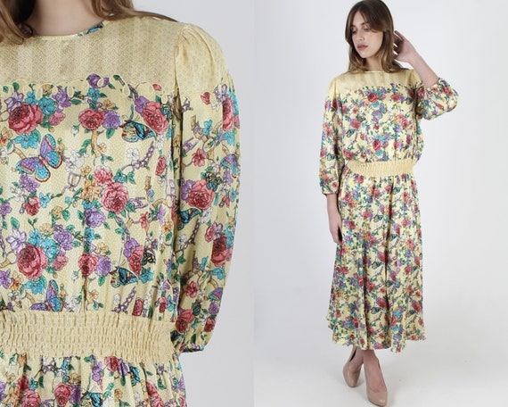 1980s Yellow Diane Freis Dress / 1980s Designer Fr