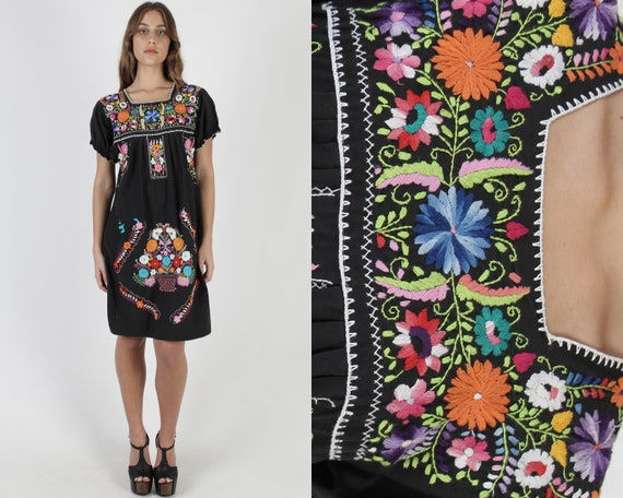 Black Mexican Mini Dress / Vintage Authentic Puebl