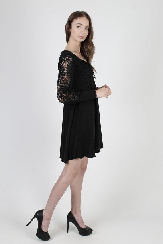 Vintage 70s Black Corset Dress / All Over Plain F… - image 4