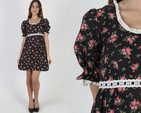 Black Cotton Rose Floral Dress / Frontier Country