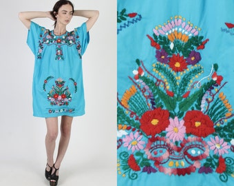 Teal Embroidered Mexican Mini Dress / Vintage 1970s Aqua Mexican Floral Dress / Flutter Sleeve Beach Coverup Womens Embroidery Dress