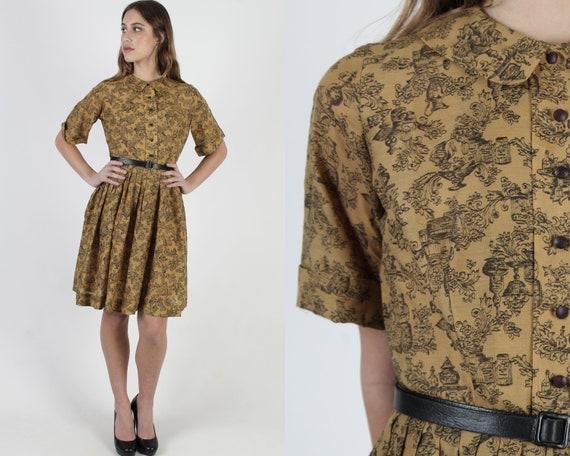 Toile de Jouy Print Dress / Tiny Scallop Collar Fr