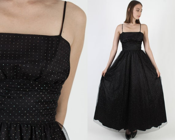 Vintage 80s Gothic Style Dress / Gunne Sax Black … - image 1