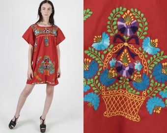 Vintage Mexican Embroidered Dress Bright Floral Puebla Fiesta Red Cotton Caftan Mini Dress Large