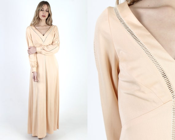 70s Estevez Nude Grecian Maxi Dress Vintage 1970s