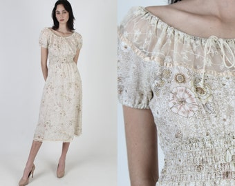Vintage 70s Garden Floral Dress / Lace Tie Off The Shoulder Chest / Elastic Gathered Smocked Waist / Cream Boho Casual Mini Midi Dress