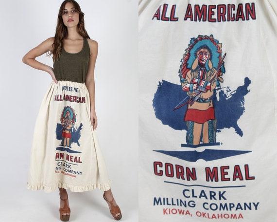 Flour Sack Skirt / Native American Indian Print /