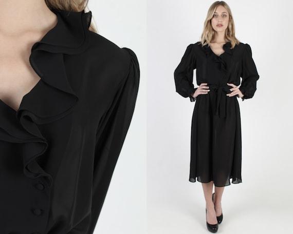 All Black Evening Party Tuxedo Dress Vintage 80s S