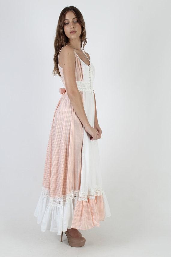 Vintage 70s Peach Gingham Dress / Gunne Sax White… - image 5