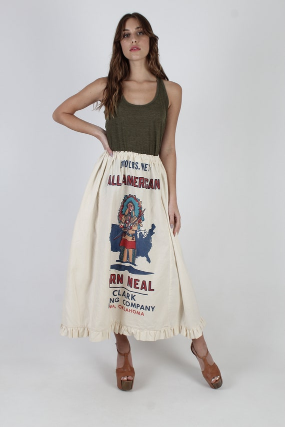 Flour Sack Skirt / Native American Indian Print /… - image 3
