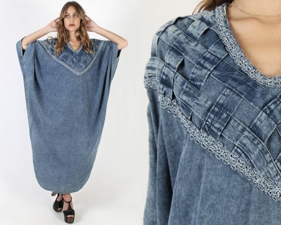 Oversized Denim Caftan Dress / Acid Wash Jean Dres