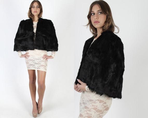Black Real Fur Cape / Vintage 40s Silky Gothic Cro